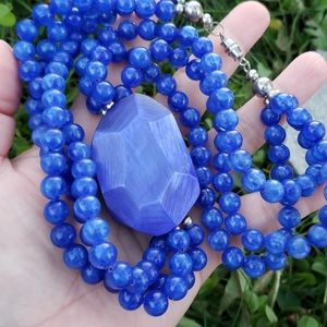 Vintage Jewelry - Vtg Chunky Blue Carved Moonglow Bead Necklace